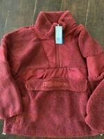 $120 Adidas Sherpa Jacket Mystery Red Women's Size Medium EC0755 NEW NWT