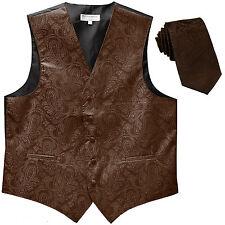 """New Men's vest Tuxedo Waistcoat_2.5"""" skinny necktie paisley brown formal wedding"""