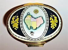 HALCYON DAYS ENAMEL BOX - AUSTRALIA & MAP & SHIP - KOALA - TERRITORY FLOWERS