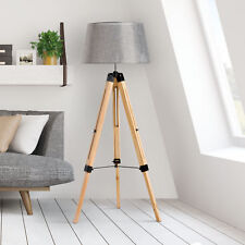 HOMCOM Classic Tripod Wooden Floor Lamp with Adjustable Height Grey