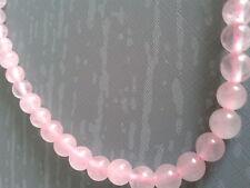 Perles en quartz rose de diamètre 10 mm,  en enfilades, pour confection bijoux.