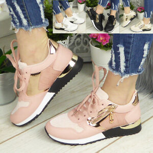 Ladies Platform Zip Sneakers Womens Lace Up Trainers Comfy Wedge Pumps Shoes