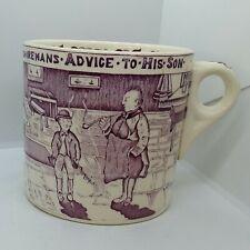 "Vintage Crown Devon Large Mullberry 4"" Mug Yorkshire Man's Advice to Son England"