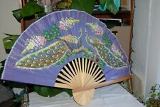 Vintage Thai Wall Fan Huge Hand-Painted Purple Silk Peacock Wall Décor Asian 4ft