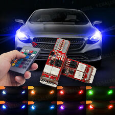 2x T10 W5W 5050 LED RGB Canbus Interior Wedge Side Light Remote Control Luxury