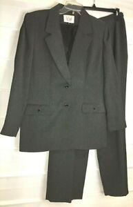 Le Suit Gray Black Tweed Fully Lined Jacket Pants Suit 10 Petite  EC!