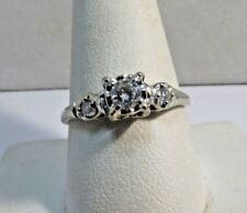 14K Solid White Gold .25ct Diamond Ring Size10 Sale-Save #R269