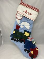 Pottery Barn Kids Quilted Blue Christmas Stocking Train Theme Marco Name Mono