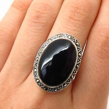 925 Sterling Silver Real Black Onyx & Marcasite Gem Art-Deco-Style Ring Size 7