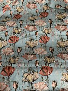 0.96 Metres Green Stem Flower 100% Cotton Fabric. 150gsm (end Piece)
