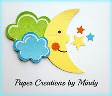 CRAFTECAFE MINDY BABY BOY MOON CLOUDS premade paper piecing TITLE scrapbook