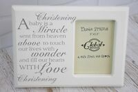Christening Baby Photo Frame Picture Verse A Baby is a Miracle Heaven F0582B