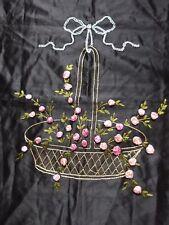 VINTAGE Antico ricamo a mano Seta Copricuscino ANTERIORE tessile