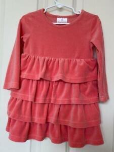 HANNA ANDERSSON Long Sleeve Velour Ruffled Peach Dress Toddler Girl Size 90