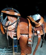 WESTERN tack trail rodeo COWBOY leather SADDLE BREASTPLATE, HEADSTALL,GIRTh