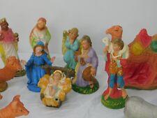 Vintage Nativity Christmas Scene Figures Chalkware Plus Others Lot