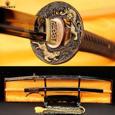 Black Folded Steel Japanese Samurai Katana Sword Sharp Blade Full Tang Cut Tree
