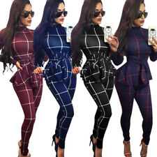 Fashion Womens Long Sleeve Checks Print Bodycon Jumpsuit With Sashes Romper Club
