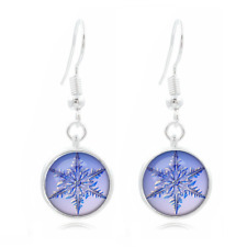 1 pair Tibet Silver Dome Photo Art 16MM Glass Cabochon Long Earrings Snowflake@k