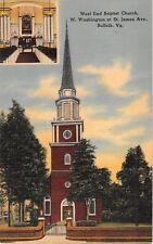 c.1940 West End Baptist Church Suffolk VA post card linen