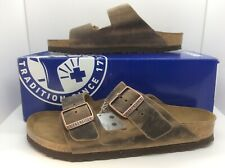 BIRKENSTOCK Women Arizona Tabacco Brown Leather Sandal Shoes Sz 8 EU39 ZB6-22