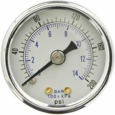 "Heavy Duty Air Compressor Pressure Gauge 0-200 PSI 1/4"" NPT Back Mount 2"" Dial"