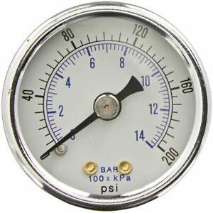 "Heavy Duty Air Compressor Pressure Gauge 0-200 PSI 1/4"" NPT Back Mount 2"" Dial"