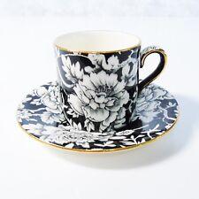 Royal Winton Peony DEMITASSE COFFEE TEA CUP & SAUCER Grimwades Black White Demi