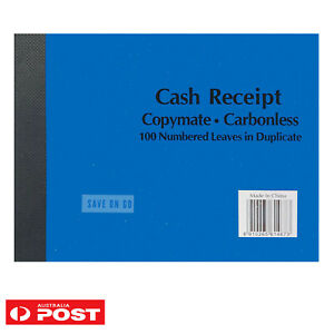 100 NUMBERED CASH RECEIPT BOOK COPYMATE CARBONLESS  LEAVES IN DUPLICATE
