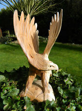 Wooden Eagle Carving - Hand Carved Bird Approx 30cm