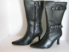 "Anna Size 9 Medium Solid Black Leather Mid -Calf Boots with Buckles 3.5"" Heels"