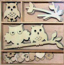 Holz Silhouettenschnitt Holzbox Eulen auf Ast , Blüten, Herzen, Eule, Zweig