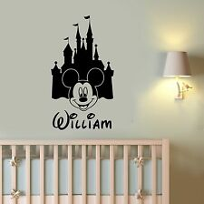 Personalized Name Mickey Mouse Vinyl Decal Disney Castle Custom Wall Sticker mc2
