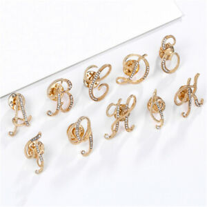 1-Pack Women Men Crystal Brooch Letter Gold Lapel Pin Badge Metal Alphabet A - Z