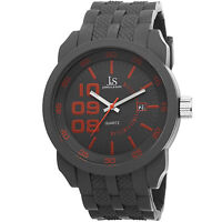 New Men's Joshua & Sons JS63GY Sport Quartz Date Grey Silicone Strap Watch