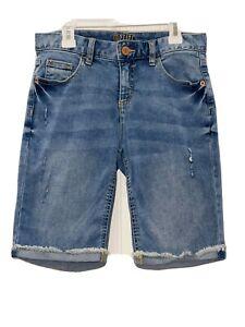 Justice Brand Shorts Size 16 Girls Distressed Denim Bermuda Style Cuffed Stretch