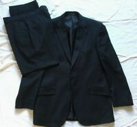 F&F Mens Single Breasted Black Pinstripe 2 Piece Suit 40R Jkt 34S Trousers