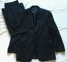F&F Mens Single Breasted black Pinstripe 2 Piece Suit 40R Jkt 34/29 Trousers