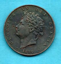 More details for 1826 king george iv halfpenny coin. copper 1/2d.