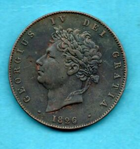 1826 KING GEORGE IV HALFPENNY COIN. COPPER 1/2d.