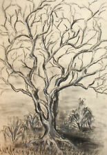 Vintage expressionist charcoal painting landscape tree
