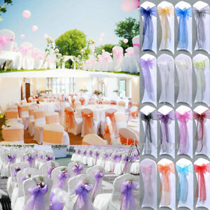 25pcs Sheer Organza Chair Sash Bows Wedding Party Banquet Reception Decoration