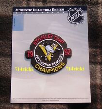 Official 1992 Stanley Cup Final Finals Champions Pittsburgh Penguins Patch
