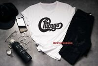 New CHICAGO Band Classic Logo Concert Tour Men's Black T-Shirt Size S to XL