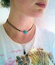 Turquoise Choker Blue Gem Stone Necklace Ladies Gift Ideas Turquoise Jewellery