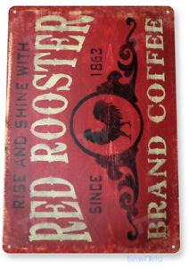 TIN SIGN Coffee Red Rooster Metal Décor Art Kitchen Store Café Bar A296