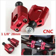 "Red CNC Pit Dirt Bike Motorcycle 1 1/8"" 28mm Handlebar Riser Mount Clamp Adaptor"