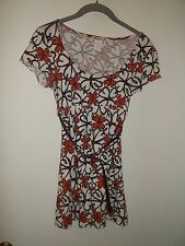 Women's Forever Short Sleeve Top, Shirt - Brown & Orange Floral - S (Small)