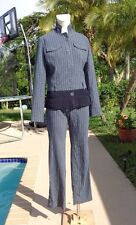 CHRISTIAN DIOR BOUTIQUE WOOL STRIPES ZIPPER LEG DETAIL CASUAL PANTSUIT Sz 6