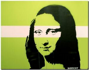 "BANKSY STREET ART CANVAS PRINT Mona Lisa Green 16""X 12"" stencil poster"